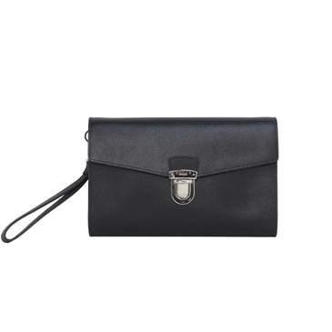 Prada Black Saffiano Travel Clutch