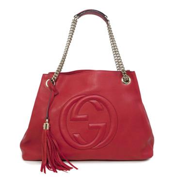 Gucci Red Pebbled Calfskin Medium Soho Chain Shoulder Bag