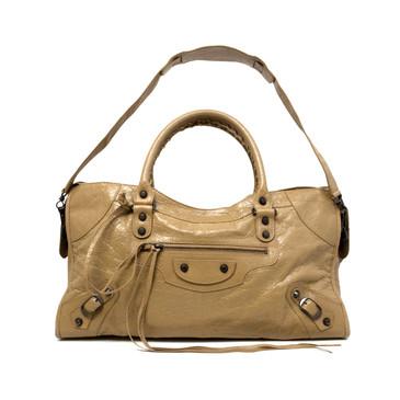 Balenciaga Beige Lambskin Classic Part Time Bag