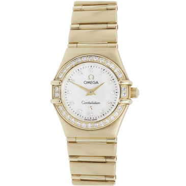Omega 18K Yellow Gold, Mother of Pearl & Diamond Ladies Constellation