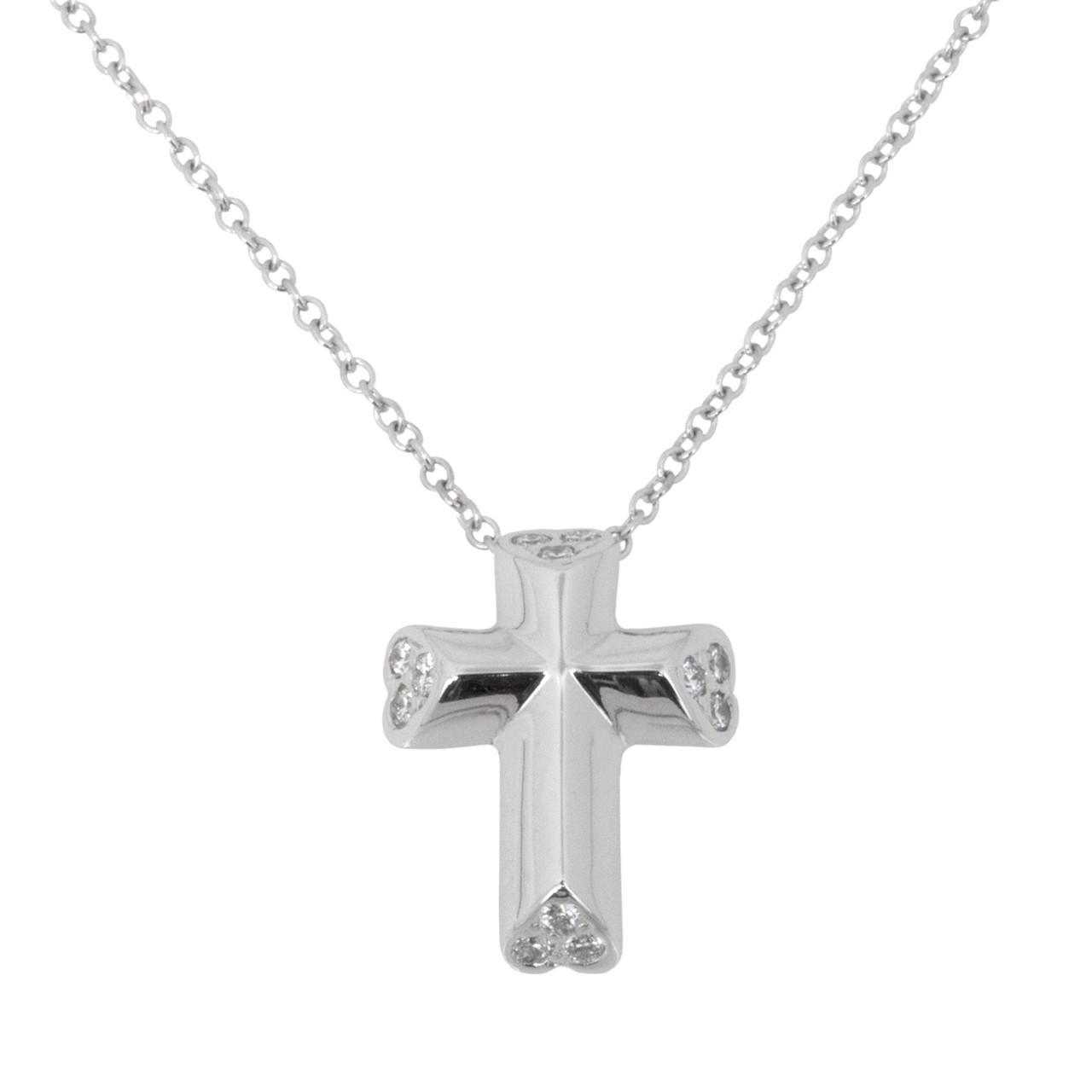 bc994df679c11 Tiffany & Co. 18K White Gold & Diamond Tenderness Heart Cross Pendant