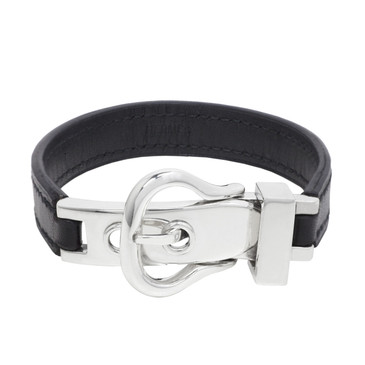 Hermes Black Leather & Sterling Silver Buckle Bracelet