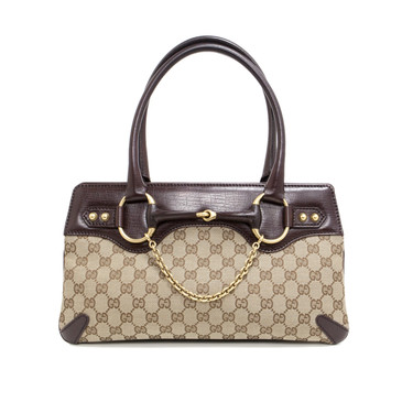 Gucci Monogram Canvas Horsebit Chain Tote