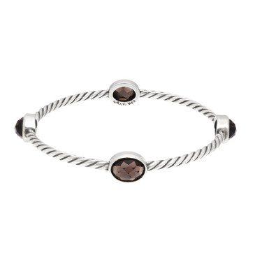 David Yurman Sterling Silver & Smokey Quartz 4 Station Cable Bangle