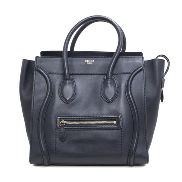 Celine Navy Blue Smooth Leather Mini Luggage Tote