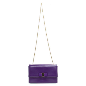 Salvatore Ferragamo Purple Saffiano Ginny Shoulder Bag