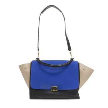 Celine Smooth Calfskin & Suede Tri Color Medium Trapeze Bag