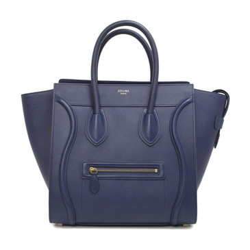 Celine Blue Smooth Calfskin Mini Luggage Tote