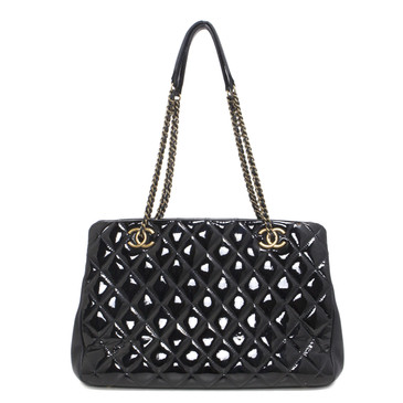 Chanel Black Patent Leather CC Eyelet Tote