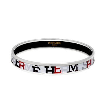 Hermes Enamel Capitales Narrow Bangle