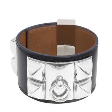 Hermes Black Calfskin Collier de Chien Bracelet