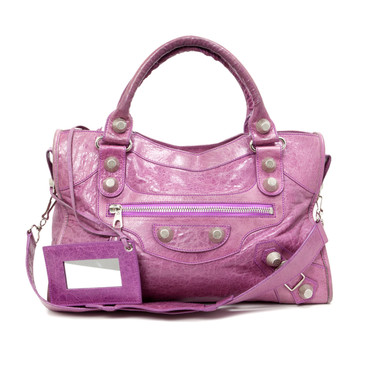 Balenciaga Pink Lambskin Giant 21 Silver City Bag
