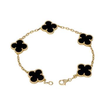 Van Cleef & Arpels 18K & Onyx Vintage Alhambra Bracelet