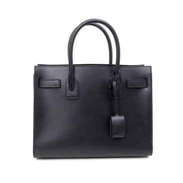 YSL Saint Laurent Black Smooth Leather Baby Sac De Jour