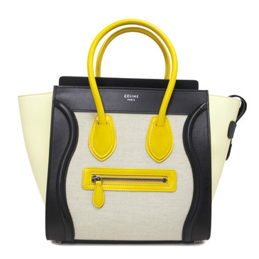 Celine Leather & Textile Micro Luggage Tote