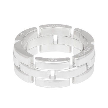 Cartier 18K White Gold Maillon Panthere Three Row Ring