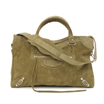 Balenciaga Khaki Suede Classic City Bag