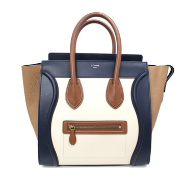 Celine Tri Color Smooth Leather Mini Luggage Tote