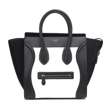 Celine Black & White Leather Mini Luggage Tote