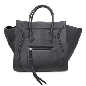 Celine Black Grained Calfskin Medium Phantom Luggage Tote