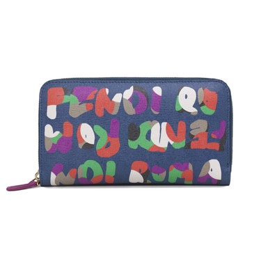 Fendi Multicolor Crayons Simply Zip Around Wallet