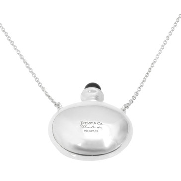 Tiffany & Co. Sterling Silver & Black Jade Round Bottle Pendant