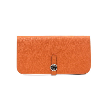 Hermes Orange Togo Dogon Recto Verso Wallet