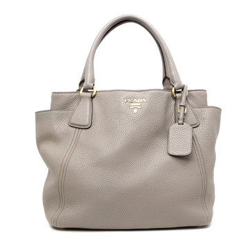 Prada Grey Vitello Daino Convertible Side Pocket Bag
