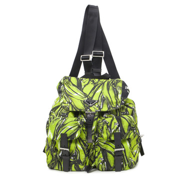 Prada Green Tessuto Stampato Banana Print Backpack