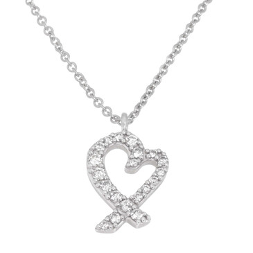 Tiffany & Co. 18K White Gold & Diamond Loving Heart Pendant