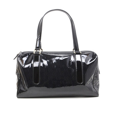 Gucci Black Patent Signature Satchel Tote