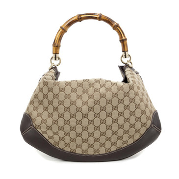 Gucci Monogram Bamboo Peggy Hobo Bag