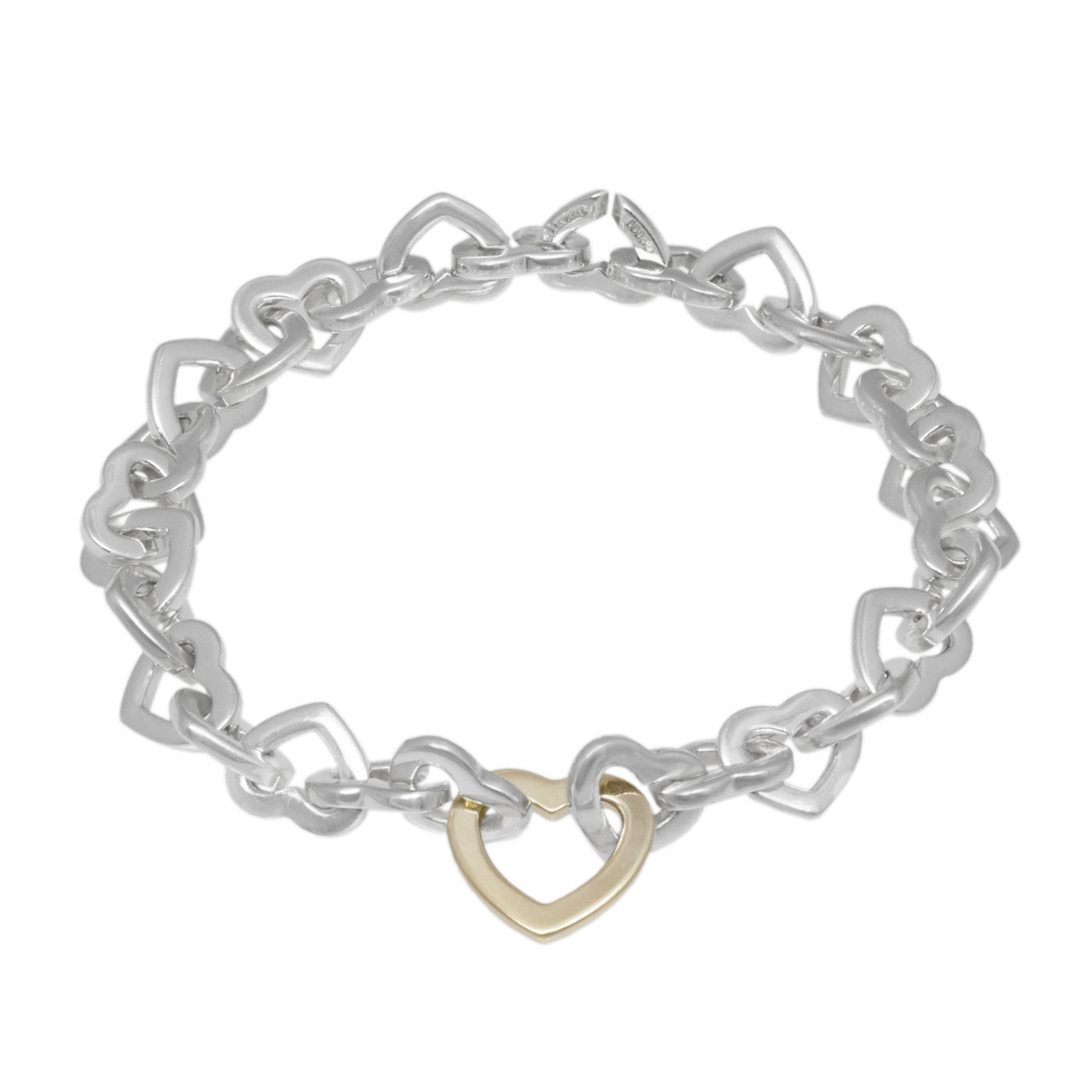ab5a4e25b53203 Tiffany & Co. Sterling Silver & 18K Yellow Gold Heart Link Bracelet ...