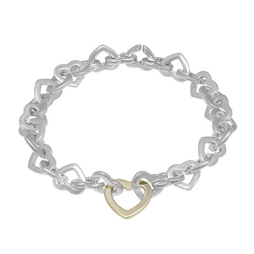 Tiffany & Co. Sterling Silver & 18K Yellow Gold Heart Link Bracelet