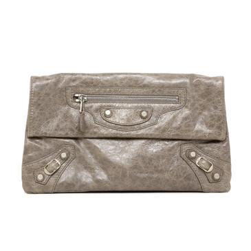 Balenciaga Grey Lambskin Giant 12 Envelope Clutch
