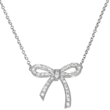 Tifffany & Co. Platinum & Diamond Mini Bow  Pendant