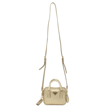 Prada Gold Saffiano Mini Shoulder Bag