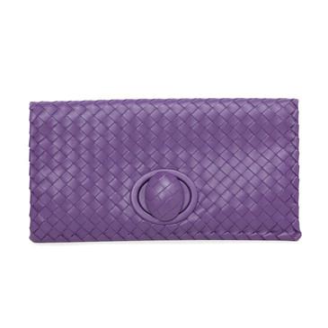 Bottega Veneta Purple Nappa Intrecciato Turnlock Clutch
