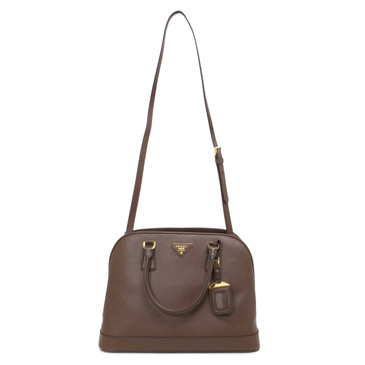 Prada Brown Saffiano Lux Double Handle Tote