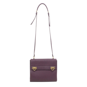 Salvatore Ferragamo Burgundy Calfskin Mya Crossbody Bag