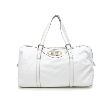 Gucci White Leather Large Britt Boston Tote