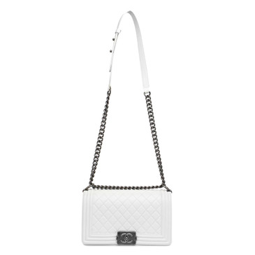 Chanel White Quilted Lambskin Medium Boy Bag