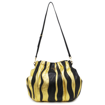 Prada Black and Gold Nappa Stripes Tote