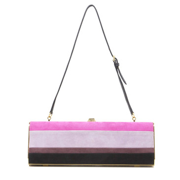 Miu Miu Striped Suede Box Clutch