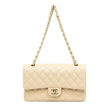 Chanel Beige Caviar Medium Classic Double  Flap