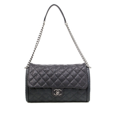 Chanel Black Quilted Calfskin Studded CC Large Flap Bag