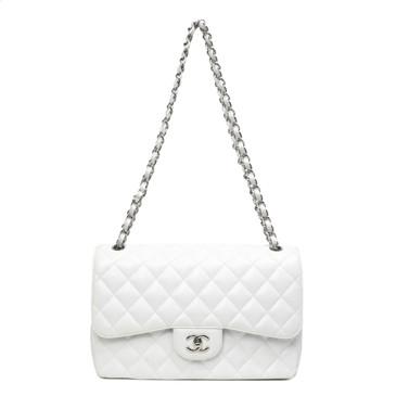 Chanel White Caviar Jumbo Classic Double Flap