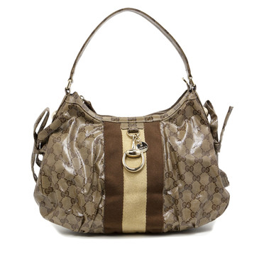 Gucci Crystal Canvas Web Stripe Shoulder Bag
