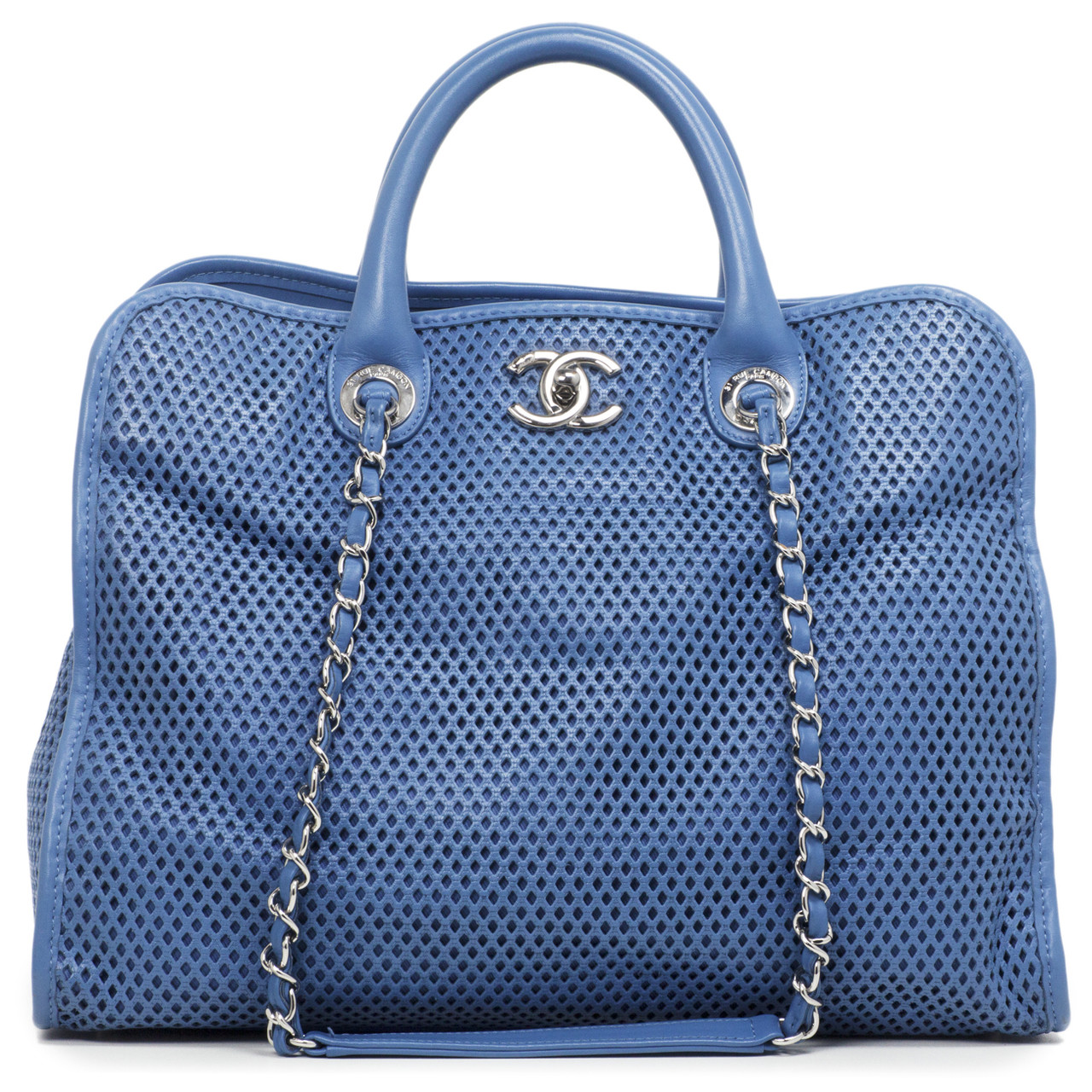 7349d143501375 Chanel Blue Perforated Calfskin Up in the Air Tote - modaselle