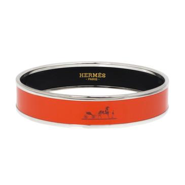 Hermes Orange Enamel Caleche Bracelet